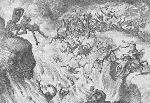 The Damned are thrown into Eternal Fire, Jan Luyken, 1687 nightmare