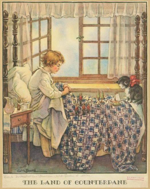 The Land of Counterpane from A Child's Garden of Verses, illustration by  Clara Miller Burd  (1873-1933) cat bed