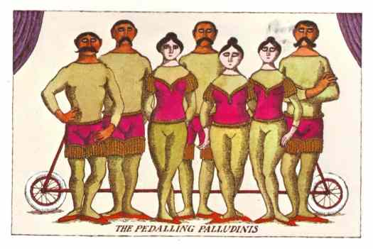 The Pedalling Palludinis, Illustration by Edward Gorey from 'The Broken Spoke', 1976. Dodd, Mead and Company. New York