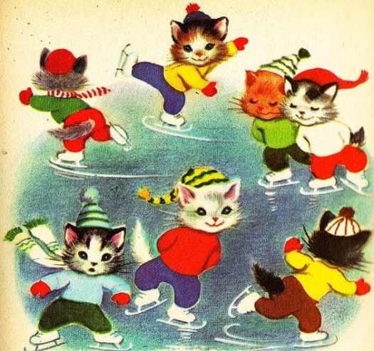 The Seven Wonderful Cats Illustrated by Elizabeth Webbe 1956 skating