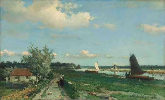The Trekvliet Shipping Canal near Rijswijk, known as the 'View near the Geest Bridge', Johan Hendrik Weissenbruch, 1868
