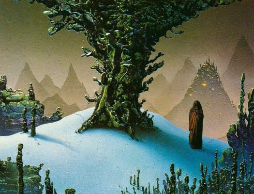 Tim White (1952 - 2020) 1980 book cover illustration for The Left Hand Of Darkness by Ursula K. Le Guin