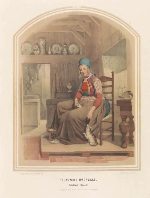 Traditional costume from the island of Schokland in Overijssel, 1857, Ruurt de Vries, after Jan Braet von Uberfeldt, after Valentijn Bing, 1857