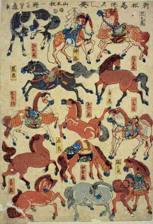 Utagawa Yoshifuji, Horse zukushi, late 19th century collage sheet horse