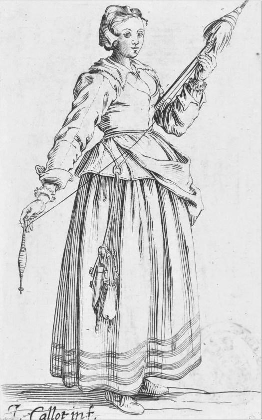 Vrouw met spinrokken en een haspel in de handen, Jacques Callot, 1630 - 1661