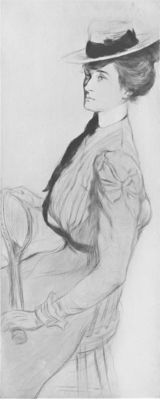 Zittende vrouw met een tennisracket, Edgar Chahine, 1899