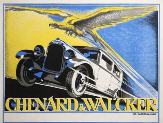 1928 car advertisement with eagle by Lagache motion