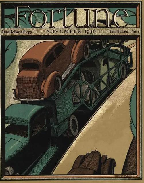 1936 November, cover by Ernest Hamlin Baker vehicle red blue