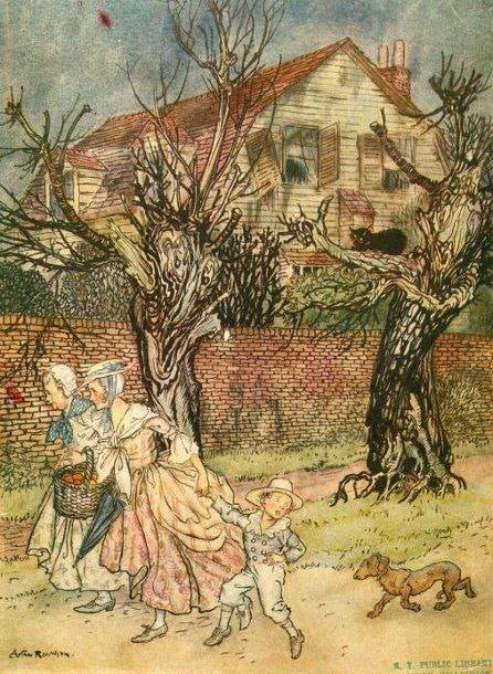 Arthur Rackham (1867-1939) for the book Wonderful Tales of Haunted Fields cat tree