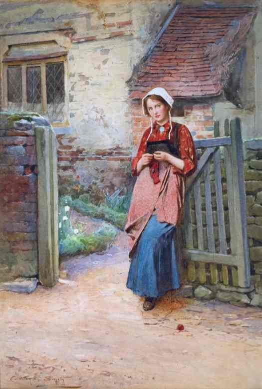 "Carlton Alfred Smith - ""At the Garden Gate"". In a different country, an older girl waits at a different gate for something to happen."