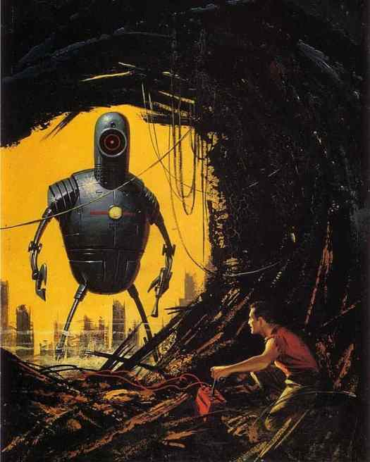 Ed Valigursky (1926 - 2009) May 1958 cover illustration for Amazing Stories robot cave yellow sky peephole