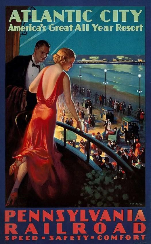 Edward Eggleston, Pennsylvania Railroad travel poster, ca 1930 blue red