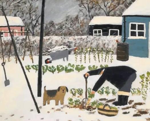 Gary Bunt, British b.1957  Parsnips, Brussel Sprouts & Greens garden dog