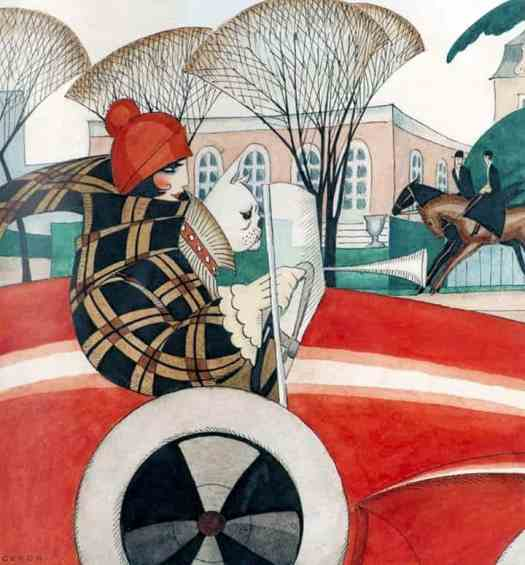 Girl and pug in an automobile, 1927 by Gerda Wegener red blue
