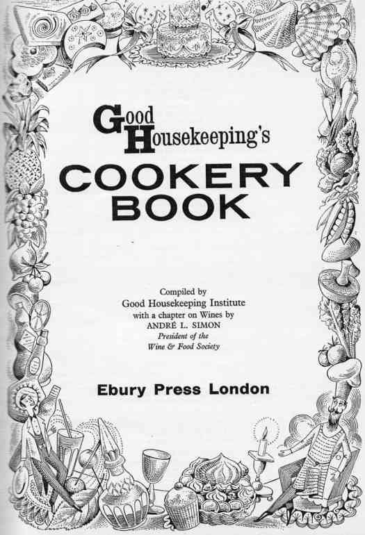 Good Housekeeping's Cookery Book Illustrations By Fred Reeves and Douglas Woodall, Ebury Press London 1948 border