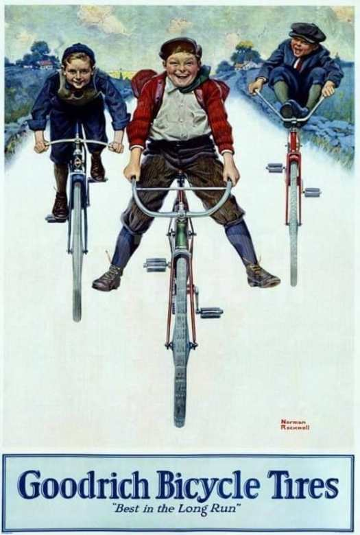 Goodrich Bicycle Tires advert by Norman Rockwell bicycle towards