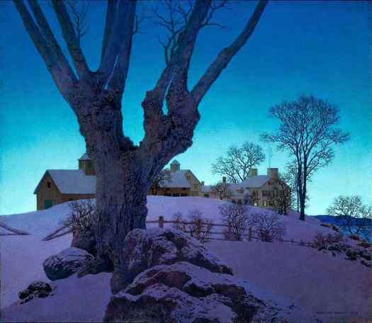 Hilltop Farm, Winter 1949 by Maxfield Parrish