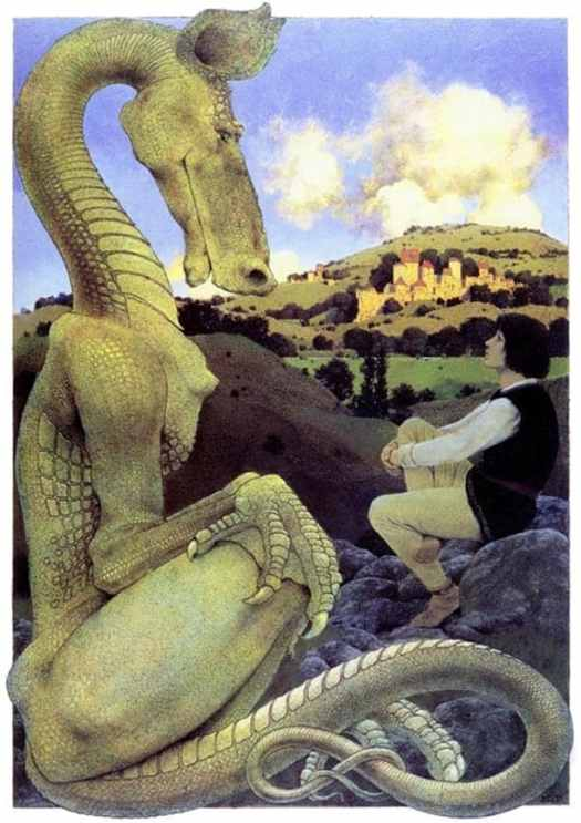 Maxfield Parrish (American painter and illustrator) 1870 - 1966, The Reluctant Dragon 1898