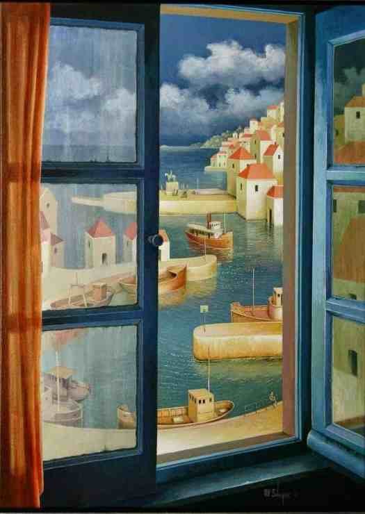 Painter Michiel Schrijver is known for creating imaginary views through windows.