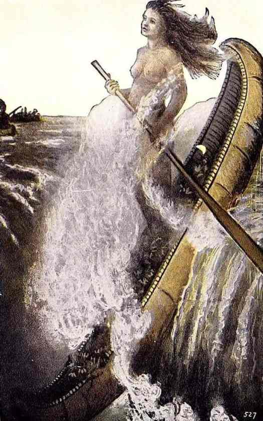 """Legend of the White Canoe"", Indian Postcard, 1909, created just 8 years after Annie tumbled over Niagara Falls."