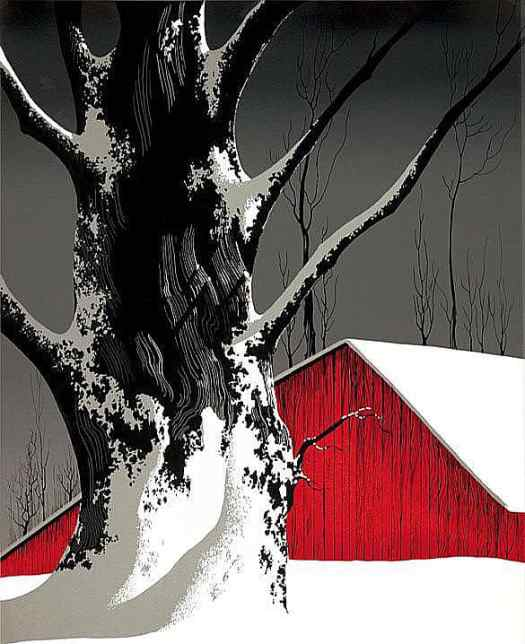Red Barn and Tree Snow (1976) by Eyvind Earle (American, 1916-2000), serigraph on paper