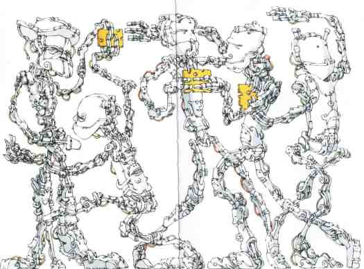The Third In Line from The Sketchbooks Of Mattias Adolfsson (Sanatorium Publishing 2015) robots