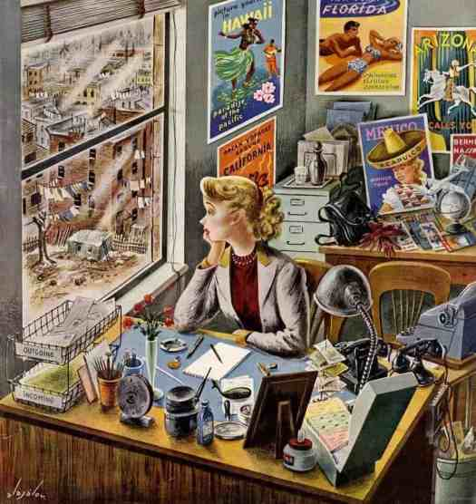 Travel Agent at Desk by Constantin Alajalov (1900-1987) 1949