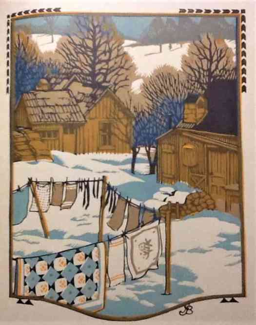 """Wood block print by Brown County artist, Gustave Baumann, 1912 'November'. Illustration for """"All The Year Round"""" by James Whitcomb Riley. Washing on the line."""