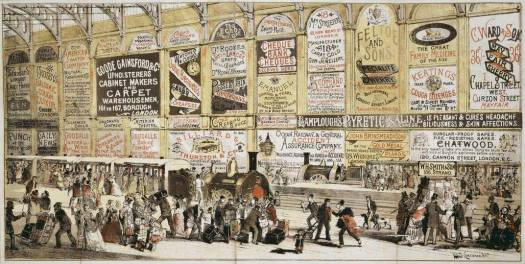 An early illustration showing the proliferation of advertising posters targeting rail passengers. C 1852