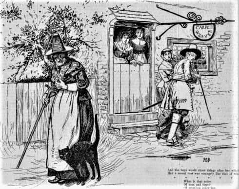 Illustration of poem ′Ye True Story of Granny Greene of Salem Towne′ by Howard Pyle