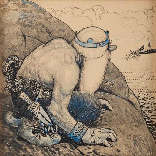 John Bauer Troll på Lur (Troll Hiding behind Cliffs), 1911