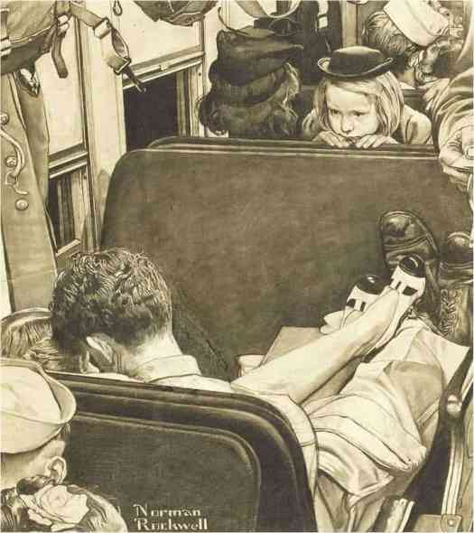 Little Girl Observing Lovers on a Train, Saturday Evening Post cover study, 1944 Norman Rockwell