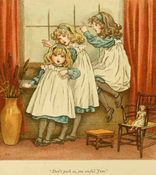 Three little girls called April, May, and June. Kate Greenaway. 1900. (German. Countess Elizabeth's daughters were named April, May and June, drawn by Kate Greenaway