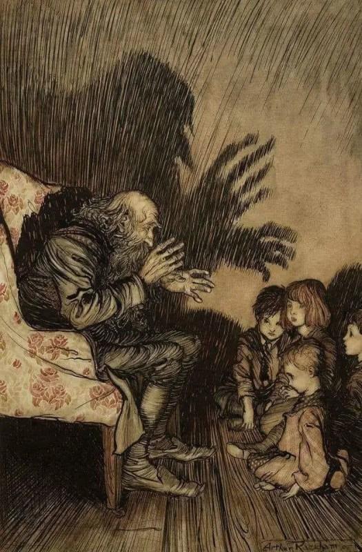 Arthur Rackham, The Story Teller, watercolour, pen, ink on paper, 1905