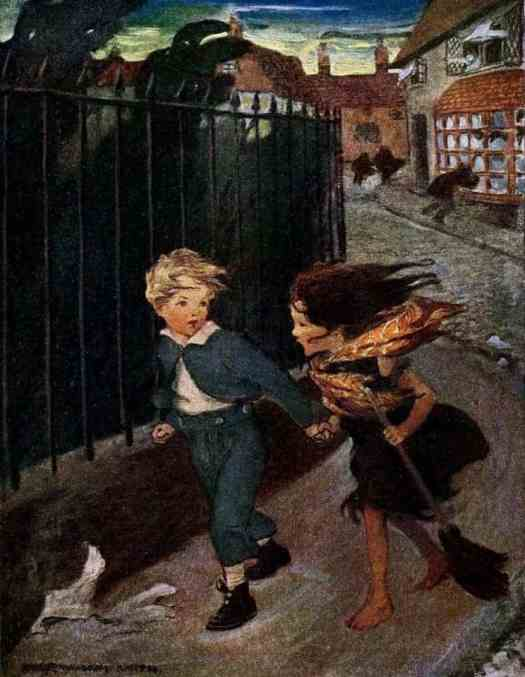 Boy and Girl Running Hand-in-Hand – Jessie Willcox Smith Illustration 1919 from At The Back of the North Wind by George MacDonald