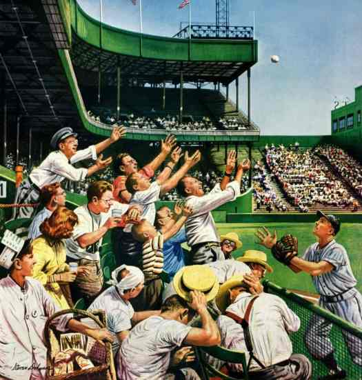 By Stevan Dohanos (1907-1994)--'Catching the Home Run Ball,' f. Saturday Evening Post Cover, April 22,1950