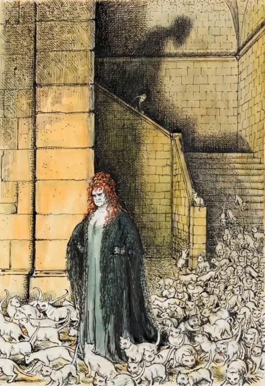 Charles W. Stewart (1915 - 2001) On The Way To The Doctor, 1974 illustration for Mervyn Peake's Gormenghast