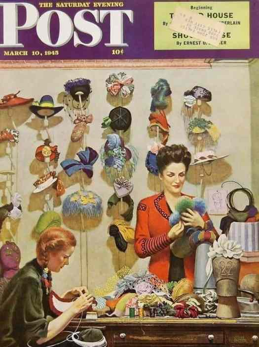 Hat Shop by John Philip Falter (1910-1982) 1945