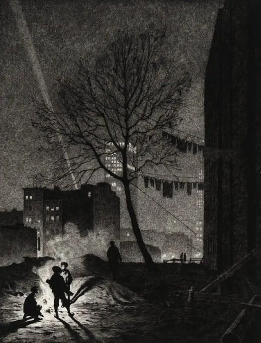 Martin Lewis, Tree, Manhattan, 1930