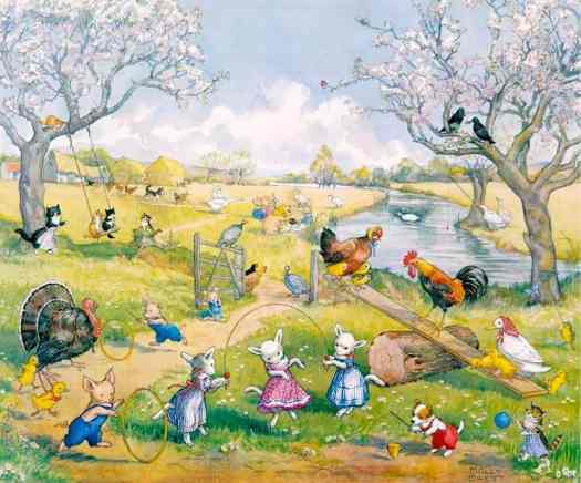 Springtime on the Farm by Molly Brett ~ (1902~1990) see-saw