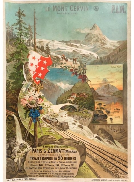 F. Hugo D'Alesi, French (1849-1906), Zermatt railway opened in 1890. This is one of the first poster representations of the Matterhorn