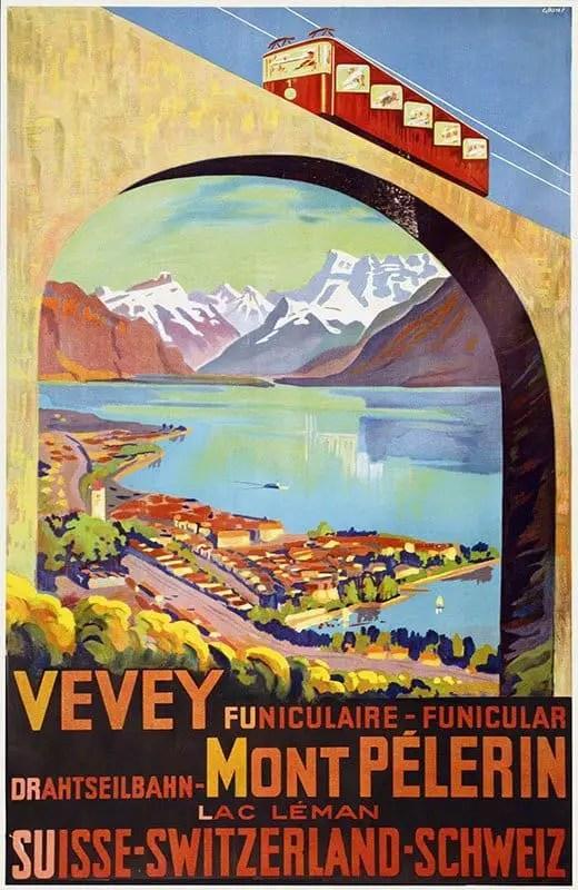 Grin Edmond Henri 1930 poster art Vevey-Mont Pelerin