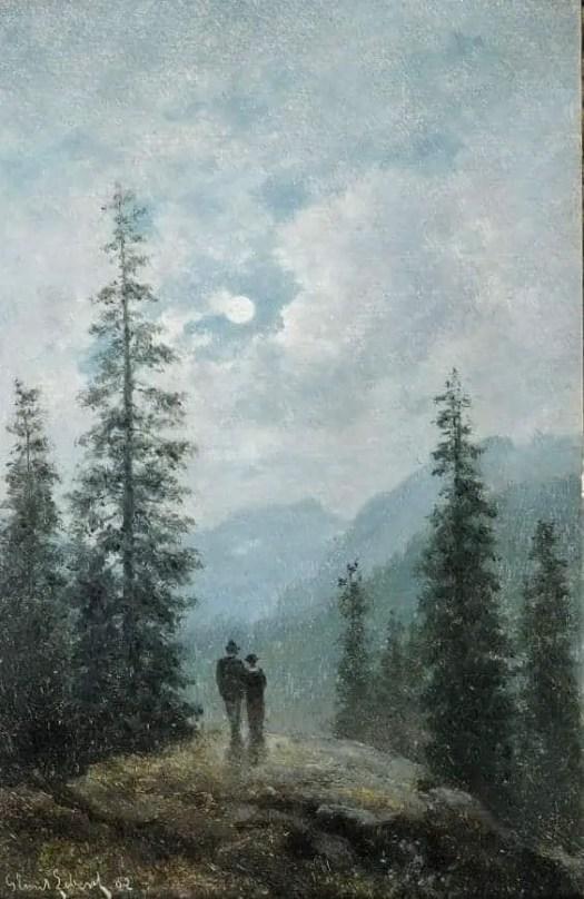 Libert, Georg Emil (Danish, 1820 - 1908) Moonlight Landscape with couple