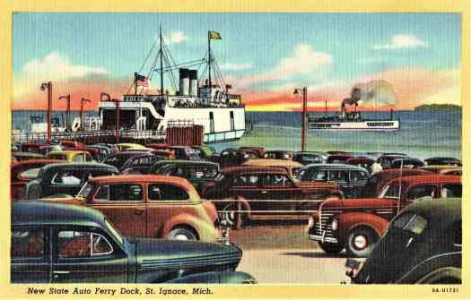 Postcard showing New State Auto Ferry Dock, St. Ignace, Michigan in 1939