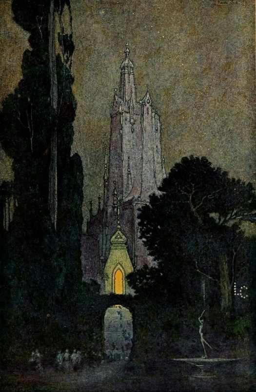 """Franklin Booth (US, 1874-1948), illustration from """"The Flying Islands of the Night"""" (1913) by James Whitcomb Riley (US, 1849-1916)"""