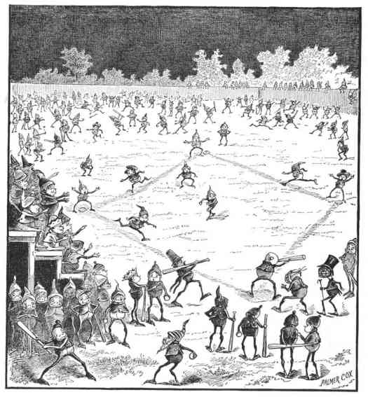"""from """"The Brownies at Base-Ball"""" in ST. NICHOLAS MAGAZINE Vol. XIII #12 (October 1886) by Palmer Cox"""