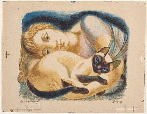 Eileen Mayo, Woman and Siamese Cat (1953), lithograph