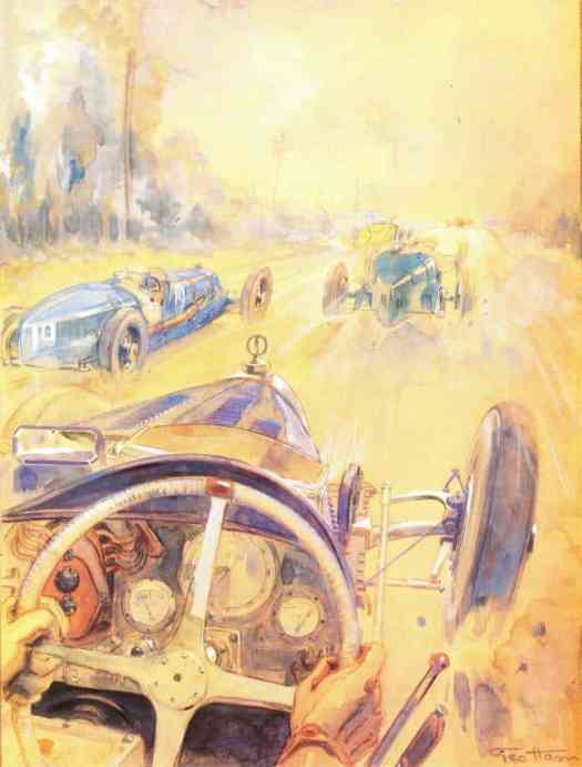 Geo Ham (Georges Hamel, 1900-1972) 1928, a Bugatti in a race. Even artists make decisions about whether to draw from first or third person perspectives.