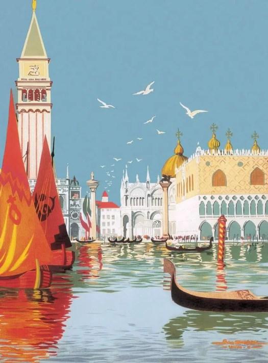 Georges Dorival (1879 - 1968) 1921 travel poster illustration for Venice