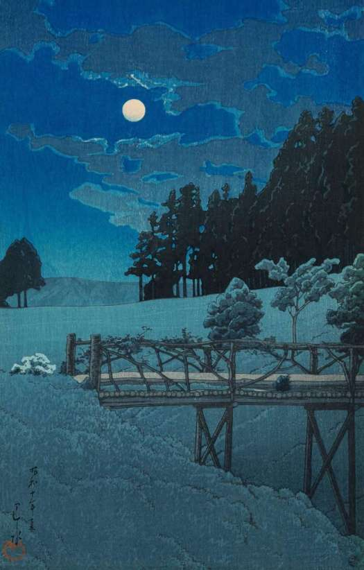 Kawase Hasui illustration of moon at night behind wooden bridge with dominant colour of blue